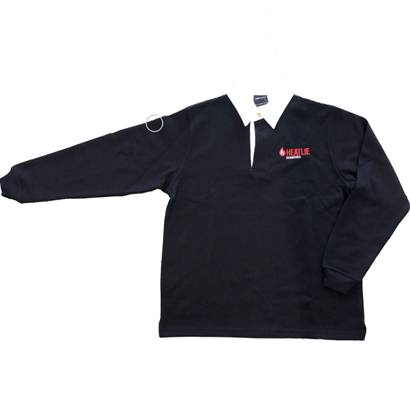 heatlie polo jumper with arm extended